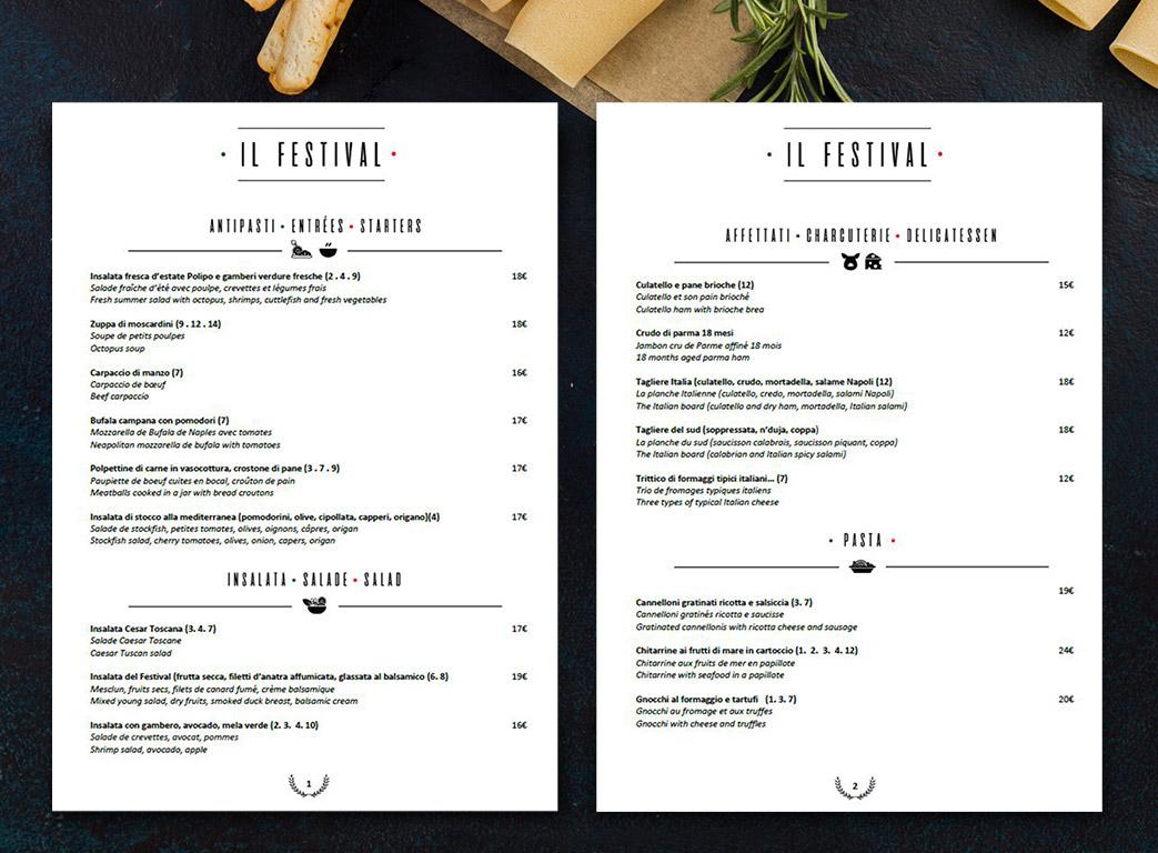 Il festival menu restaurant